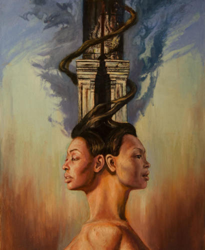 the mistery of janus .huile sur toile.81x100 cm. 2018