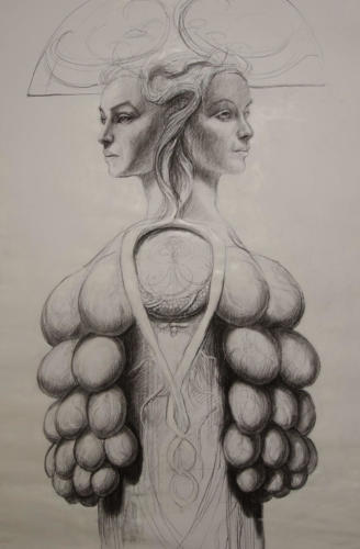 Janus féminin.charcoal on paper. 80x120cm. 2018