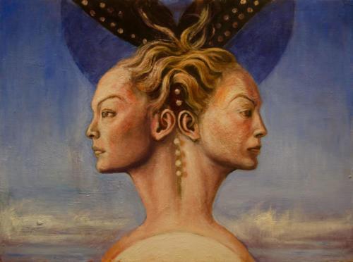 Janus féminin.huile sur toile. 54x73 cm. 2018