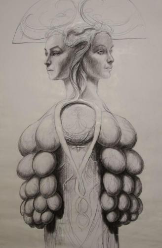 Janus féminin.charcoal on paper. 80x120cm. 2018